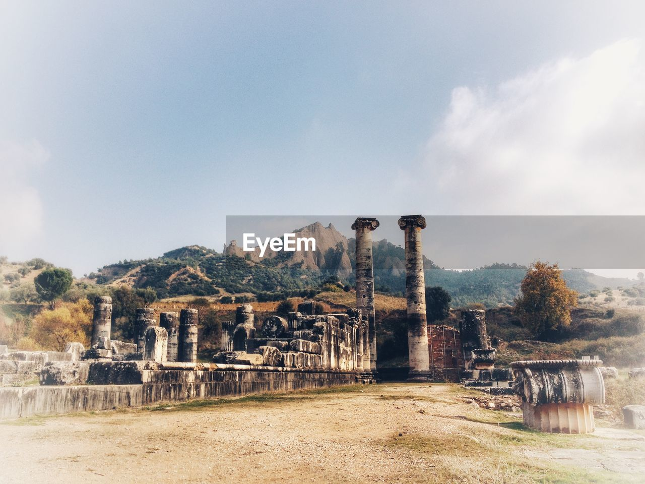 sky, architecture, built structure, nature, day, no people, cloud - sky, mountain, history, old, plant, outdoors, environment, the past, building exterior, abandoned, water, land, ancient, tree, ancient civilization, ruined, architectural column, archaeology