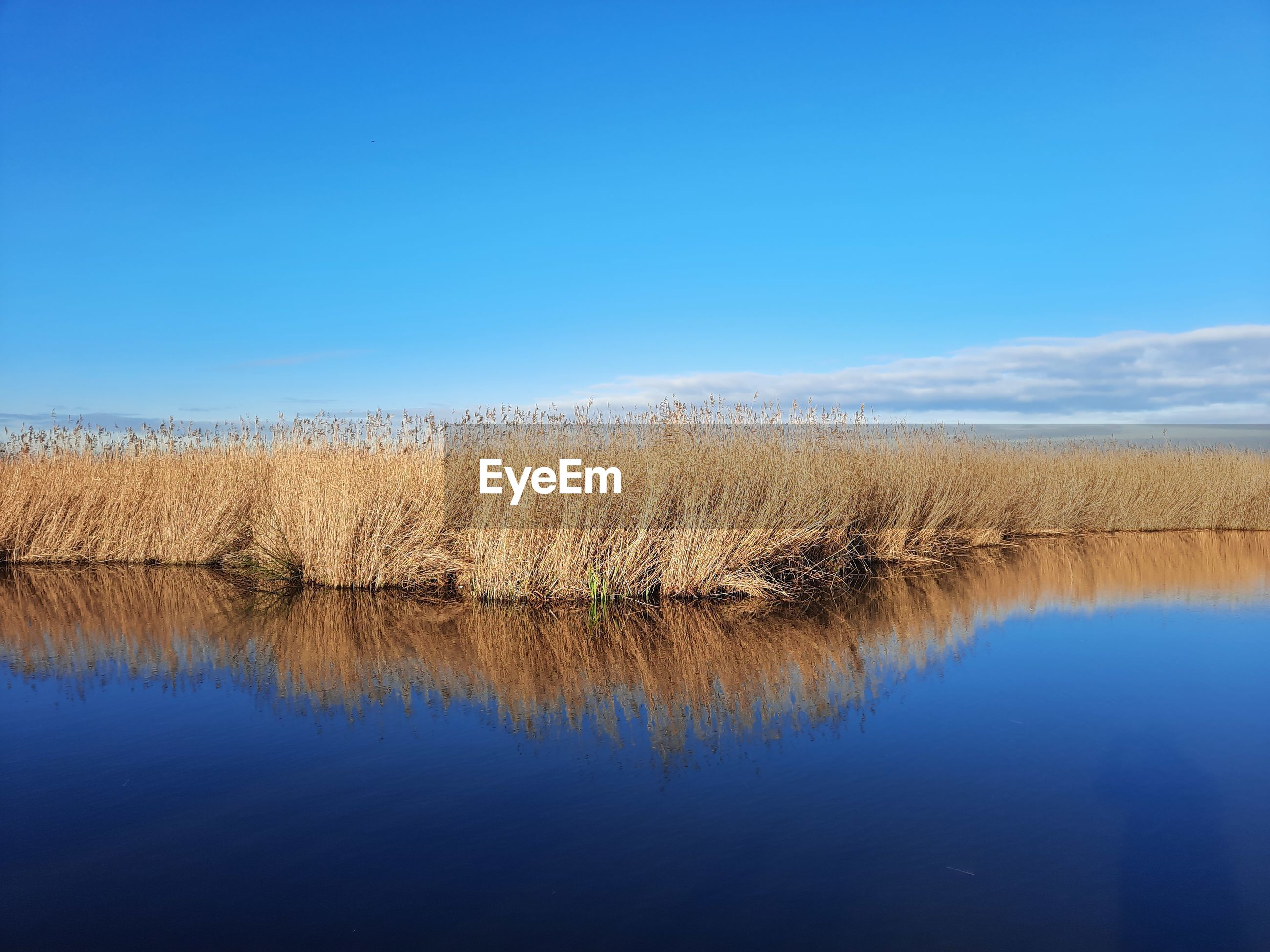 VIEW OF LAKE AGAINST CLEAR BLUE SKY