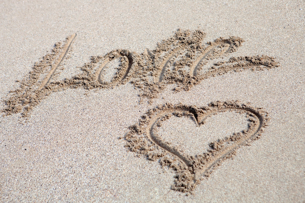 sand, beach, land, positive emotion, heart shape, no people, text, emotion, nature, love, creativity, communication, day, art and craft, outdoors, high angle view, close-up, western script, shape, starfish, message