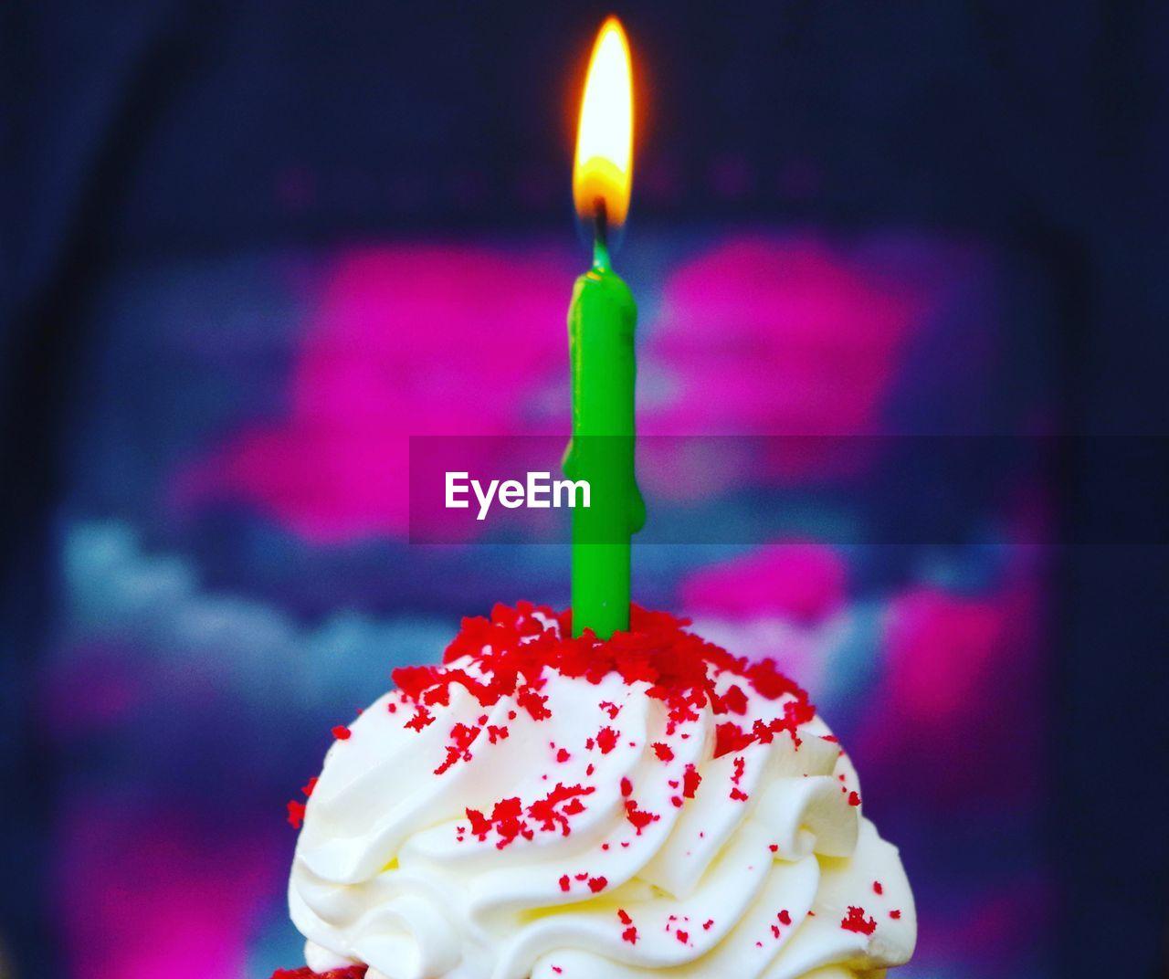 Close-up of birthday cupcake