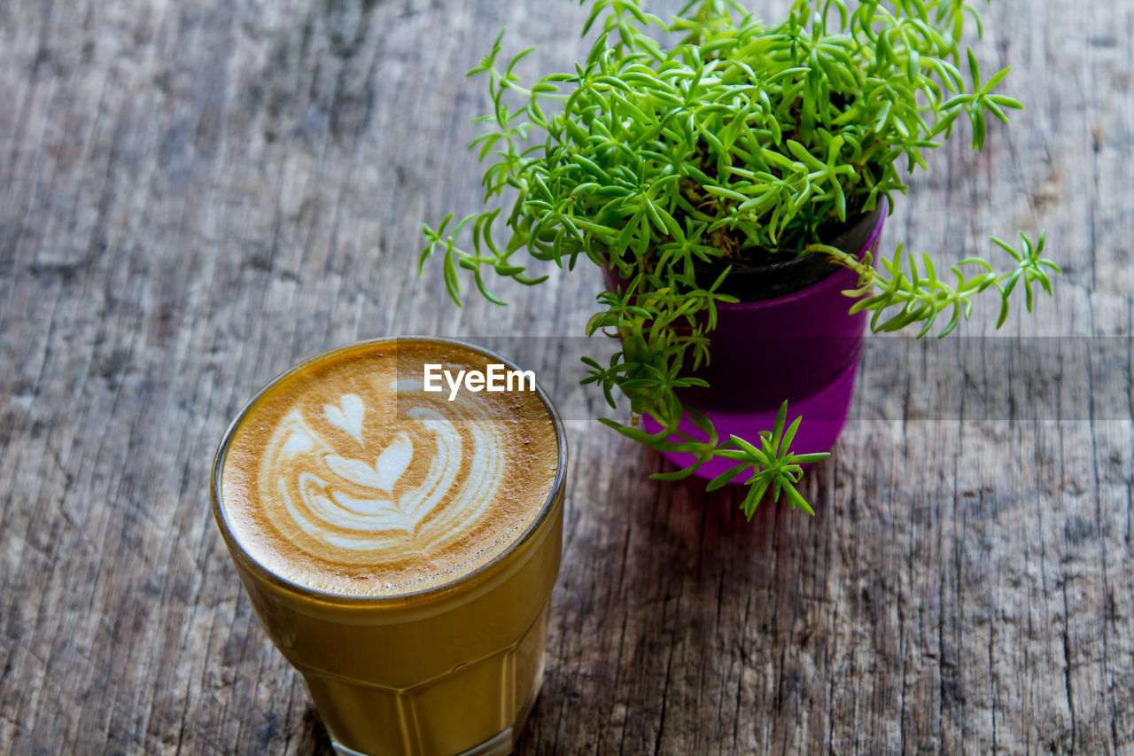 refreshment, drink, food and drink, coffee - drink, table, coffee, still life, freshness, coffee cup, frothy drink, cup, mug, leaf, high angle view, plant part, no people, potted plant, wood - material, food, froth art, hot drink, latte, glass, crockery