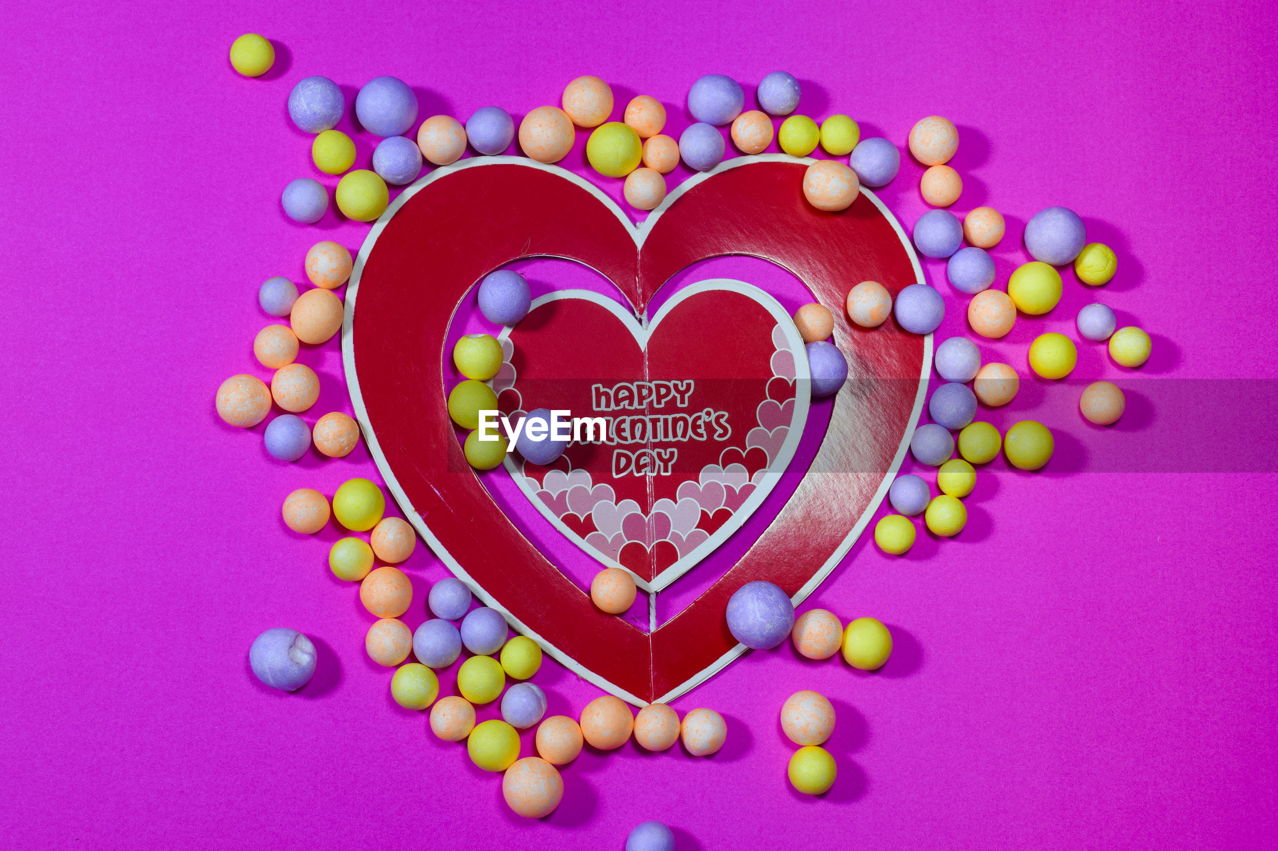 Directly above shot of multi colored heart shape