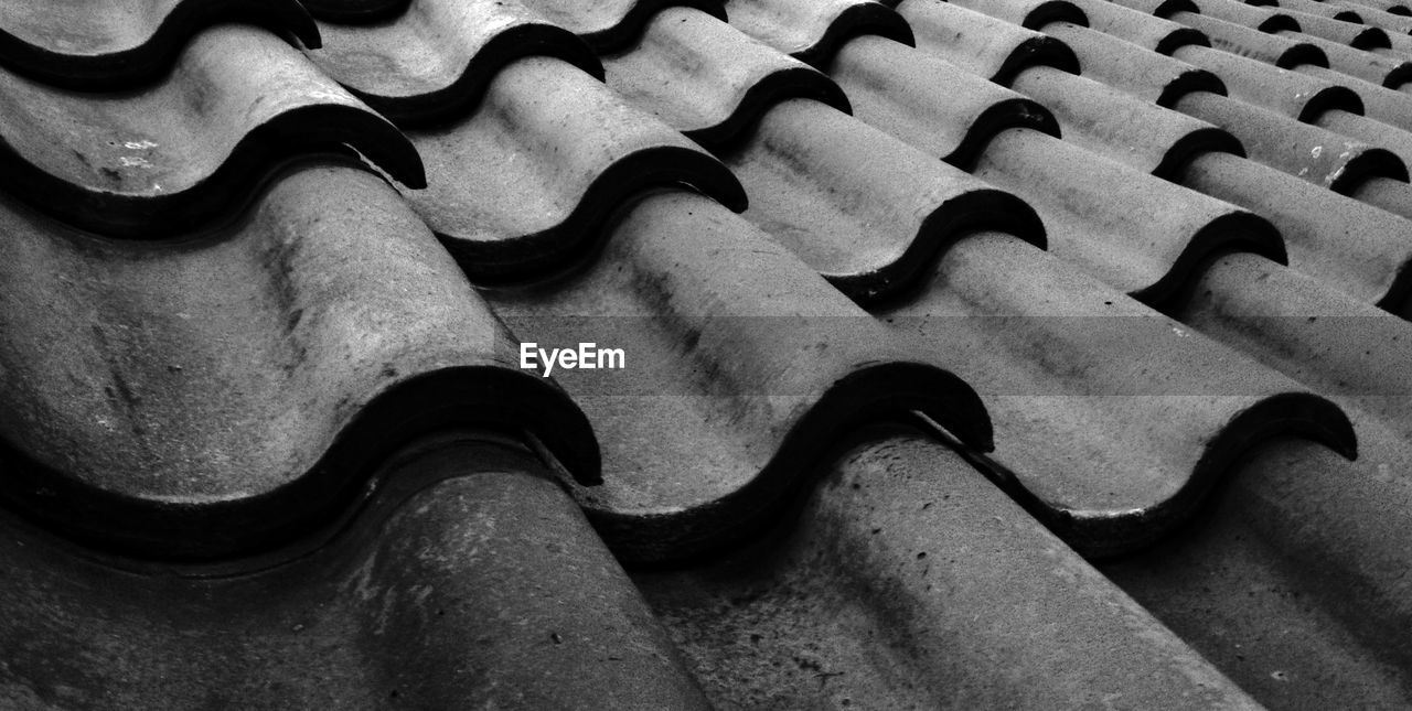 full frame, pattern, no people, close-up, high angle view, backgrounds, day, metal, indoors, roof, roof tile, built structure, textured, still life, nature, connection, design, wall, equipment