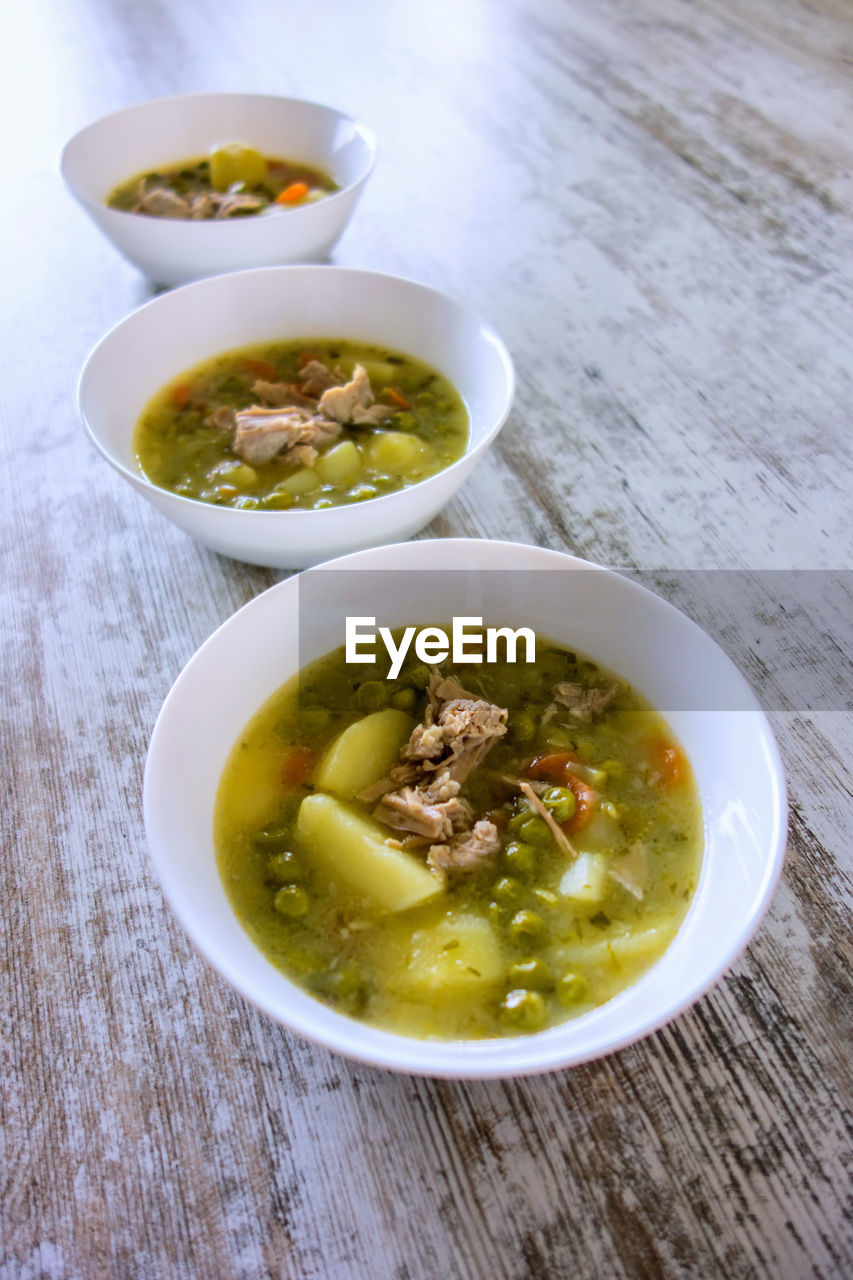 bowl, food and drink, food, soup, freshness, table, high angle view, ready-to-eat, no people, healthy eating, indoors, serving size, plate, meal, close-up, day
