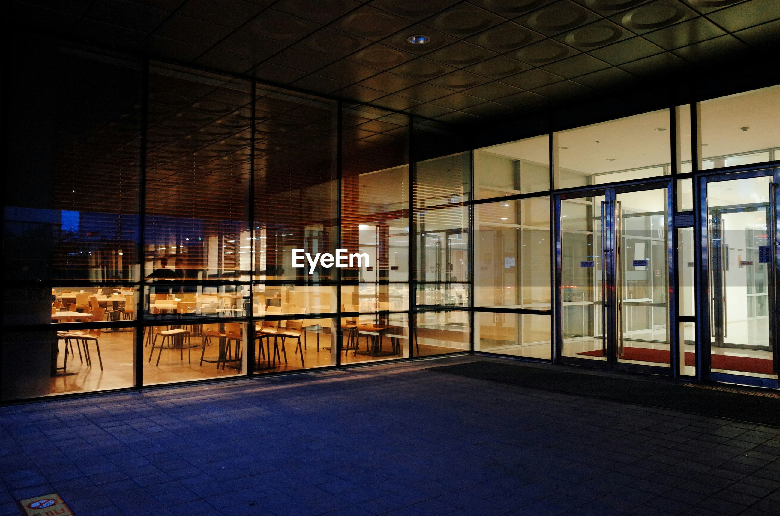 Restaurant seen through glass window