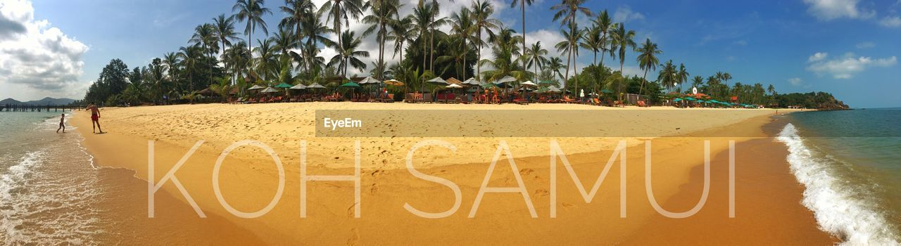 beach, sand, sky, sea, outdoors, water, text, day, nature, tree, palm tree, no people, beauty in nature, panoramic, scenics