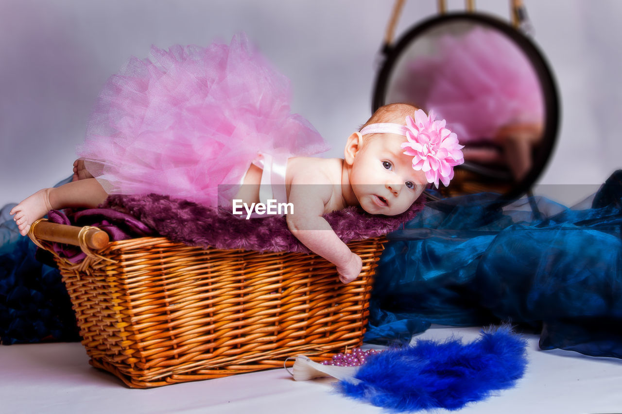 Baby Girl In Tutu On Basket