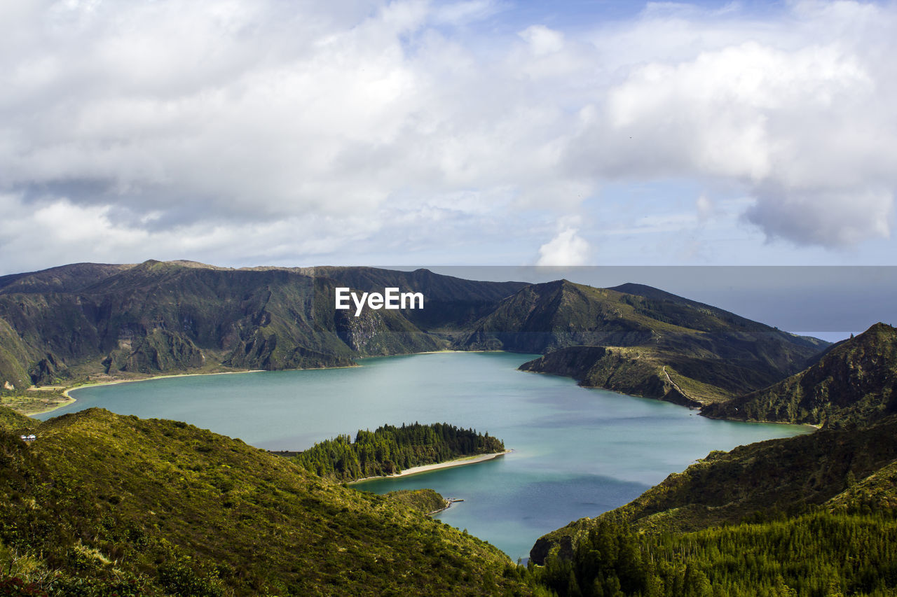 Volcanic lake landscape. fire lagoon in azores