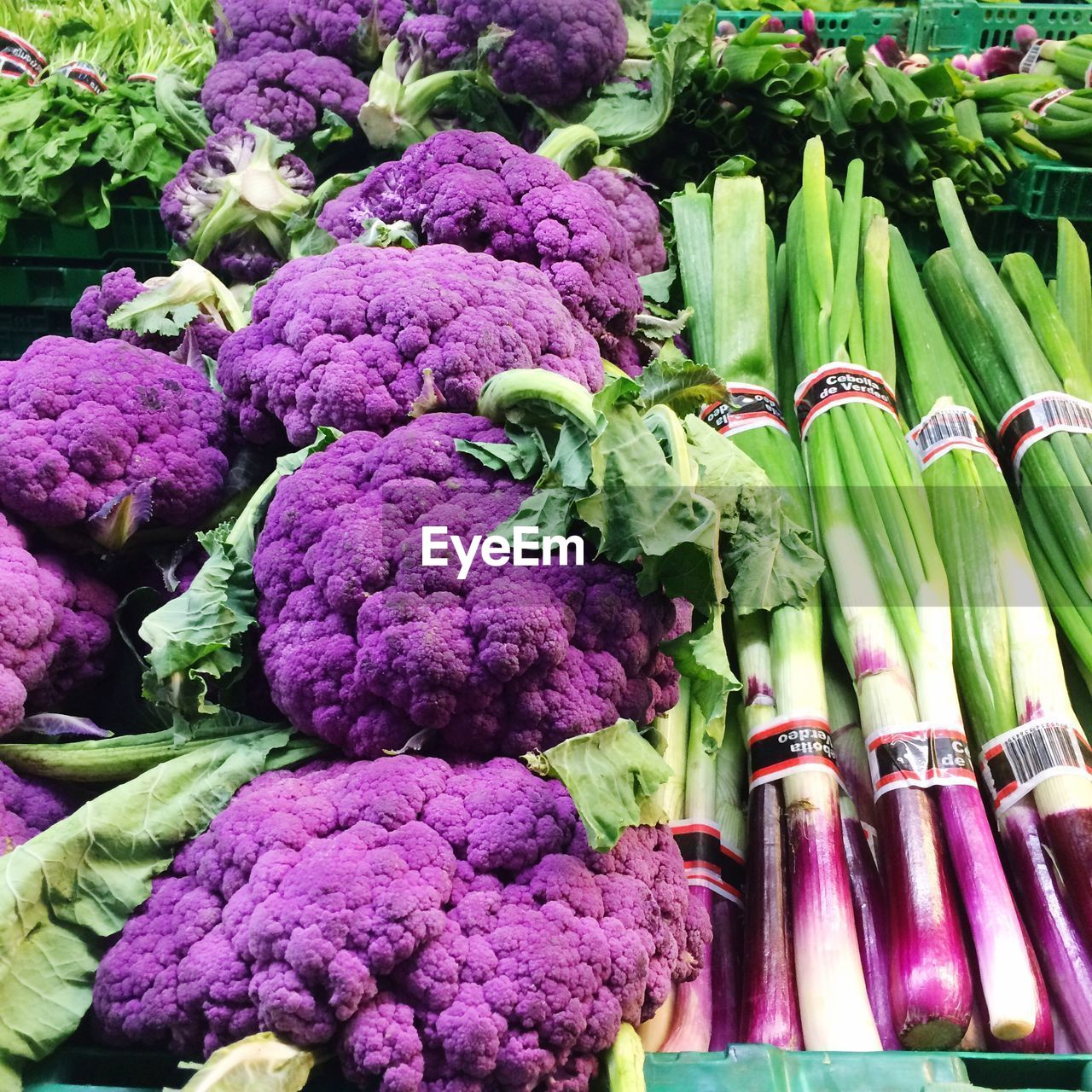 vegetable, food and drink, food, healthy eating, freshness, cauliflower, purple, raw food, cabbage, green color, no people, day, variation, market, outdoors, close-up