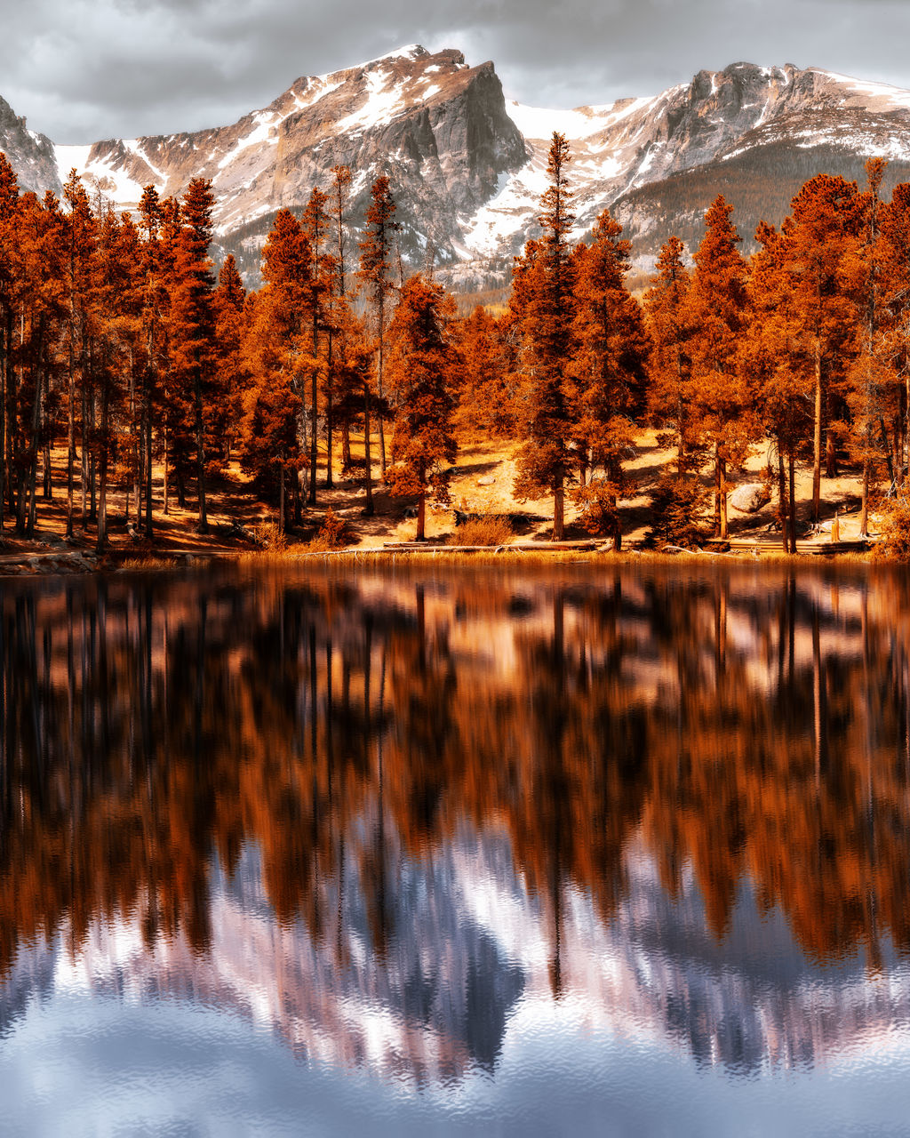 beauty in nature, lake, water, mountain, tree, reflection, scenics - nature, plant, tranquility, tranquil scene, winter, nature, snow, cloud - sky, sky, non-urban scene, no people, cold temperature, autumn, mountain range, change, outdoors, snowcapped mountain