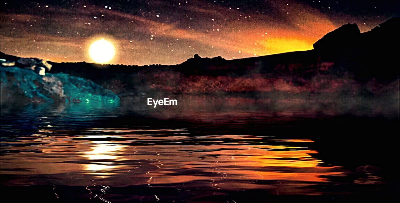 beauty in nature, water, scenics, nature, reflection, tranquil scene, sunset, sky, tranquility, night, moon, no people, outdoors, lake, mountain, star - space, tree, astronomy