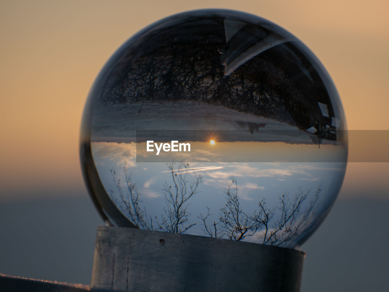 sky, sunset, nature, close-up, glass - material, transparent, no people, reflection, focus on foreground, sphere, outdoors, beauty in nature, scenics - nature, water, lighting equipment, plant, shape, circle