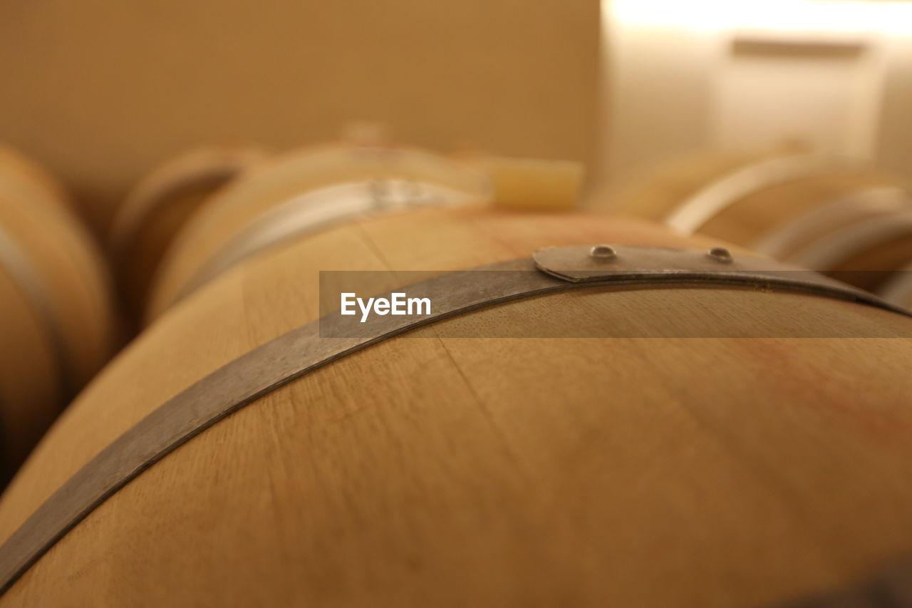 Close-Up Of Wine Cask In Cellar