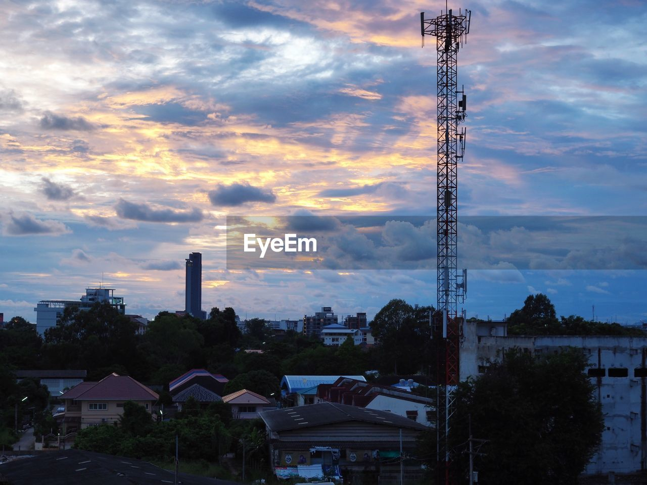 architecture, built structure, sky, cloud - sky, building exterior, sunset, outdoors, no people, tree, city, day, cityscape, nature
