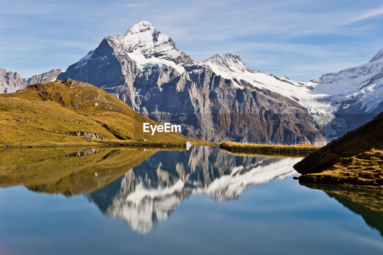 Panoramic view of lake and snowcapped mountains against sky