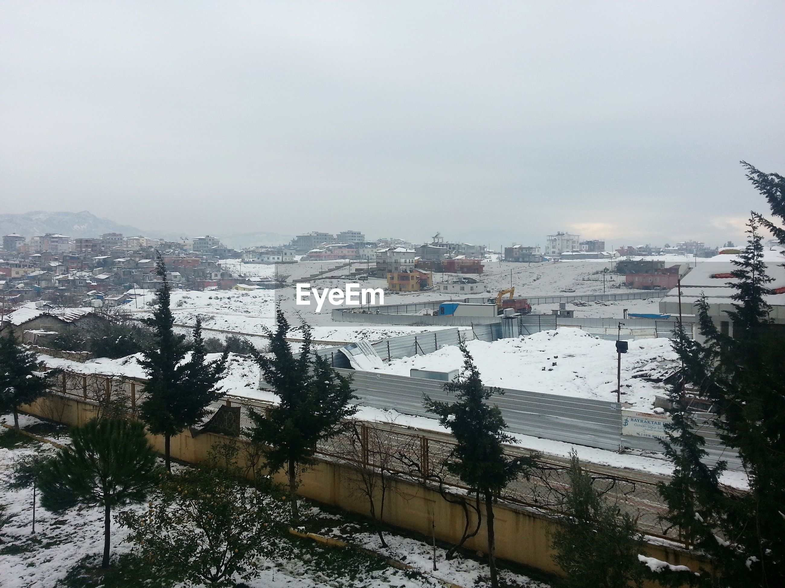 High angle view of snow covered town