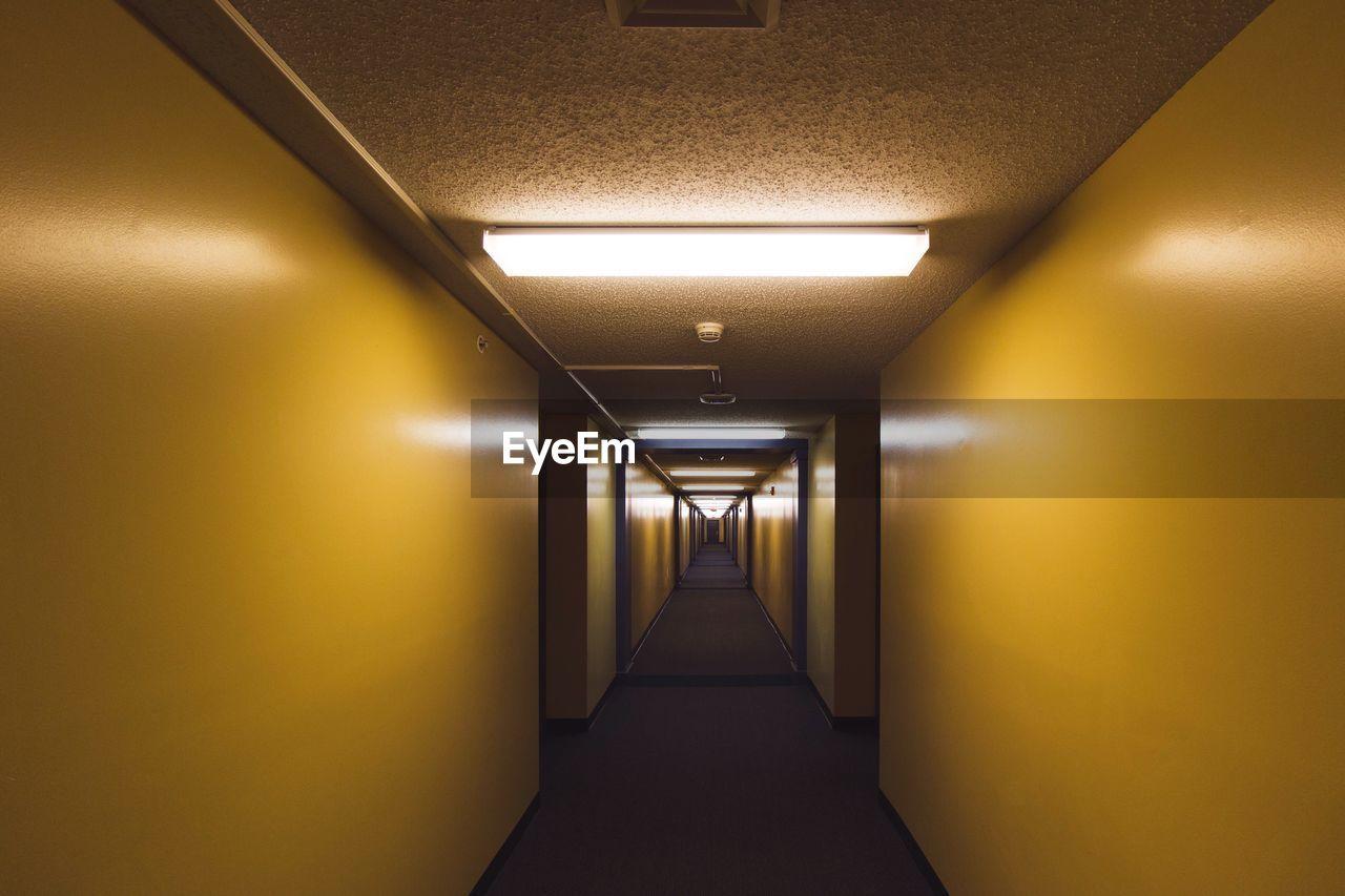 Vanishing Point View Of Illuminated Corridor