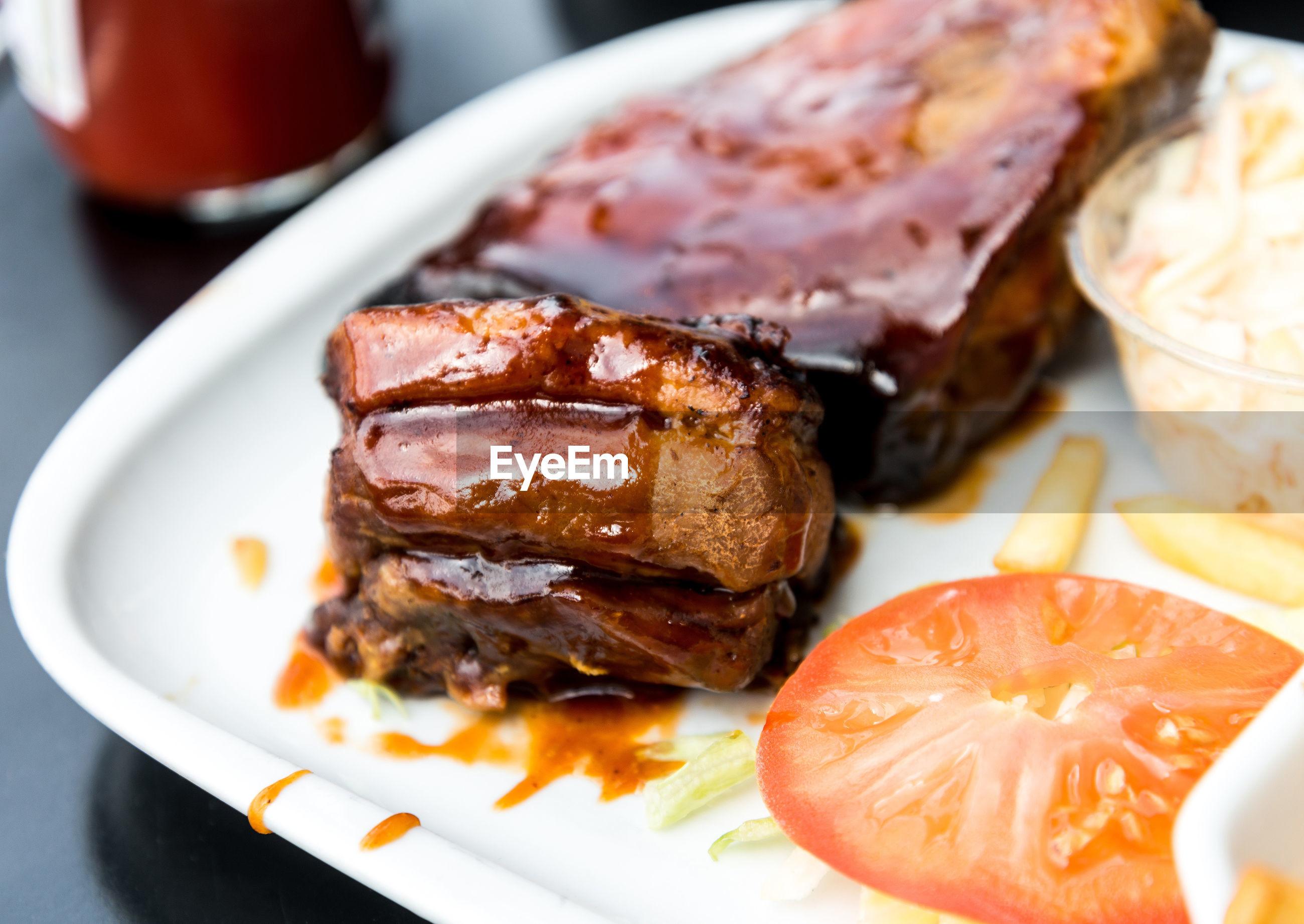 Brisket glazed in barbecue sauce