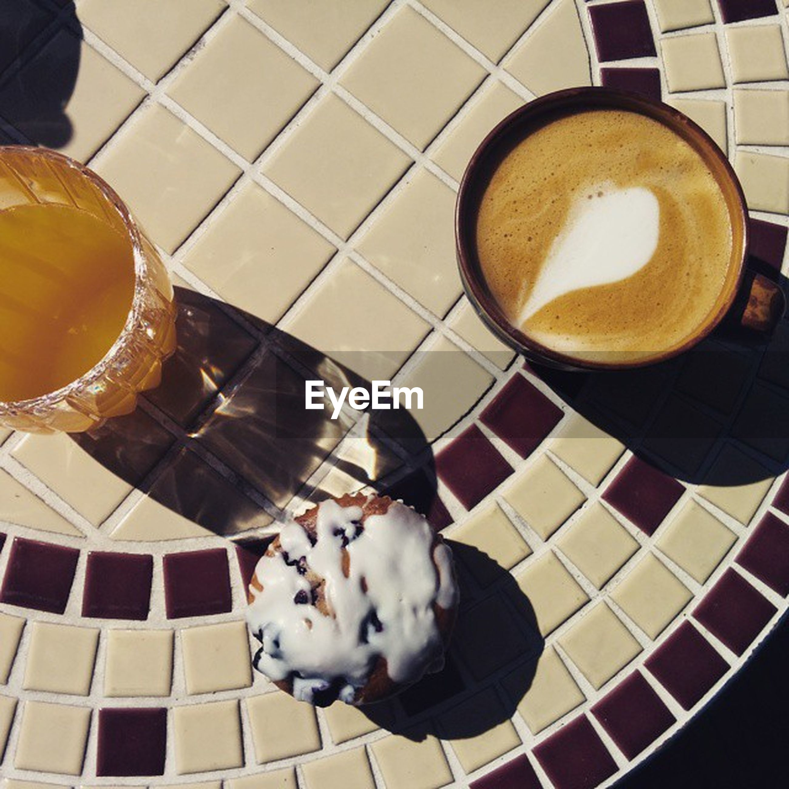 food and drink, indoors, food, high angle view, freshness, drink, still life, table, refreshment, coffee - drink, healthy eating, directly above, coffee cup, plate, ready-to-eat, bowl, spoon, sweet food, no people, dessert