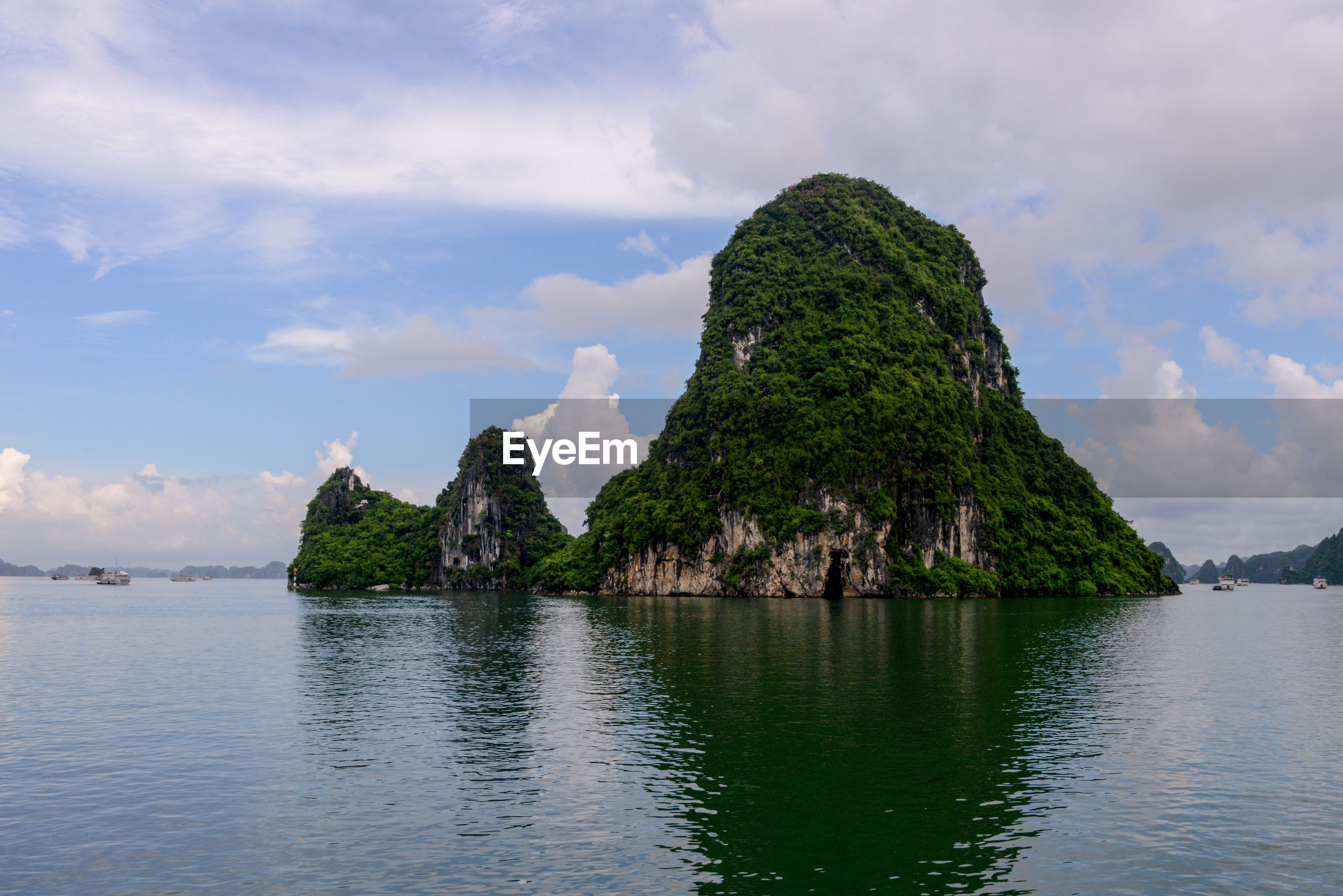 PANORAMIC VIEW OF SEA AND TREES AGAINST SKY