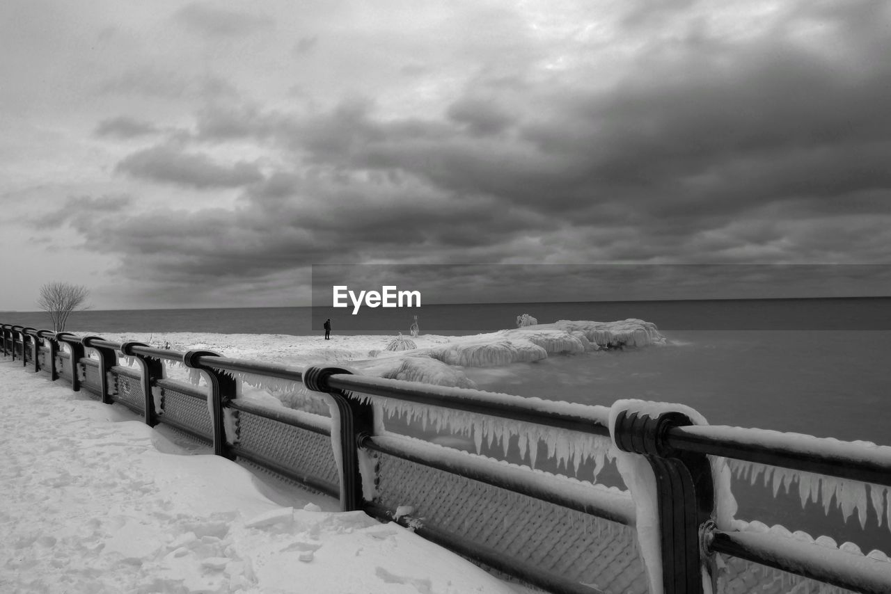 cloud - sky, water, sky, sea, horizon over water, scenics - nature, railing, horizon, beauty in nature, tranquil scene, tranquility, nature, land, beach, day, idyllic, no people, pier, outdoors