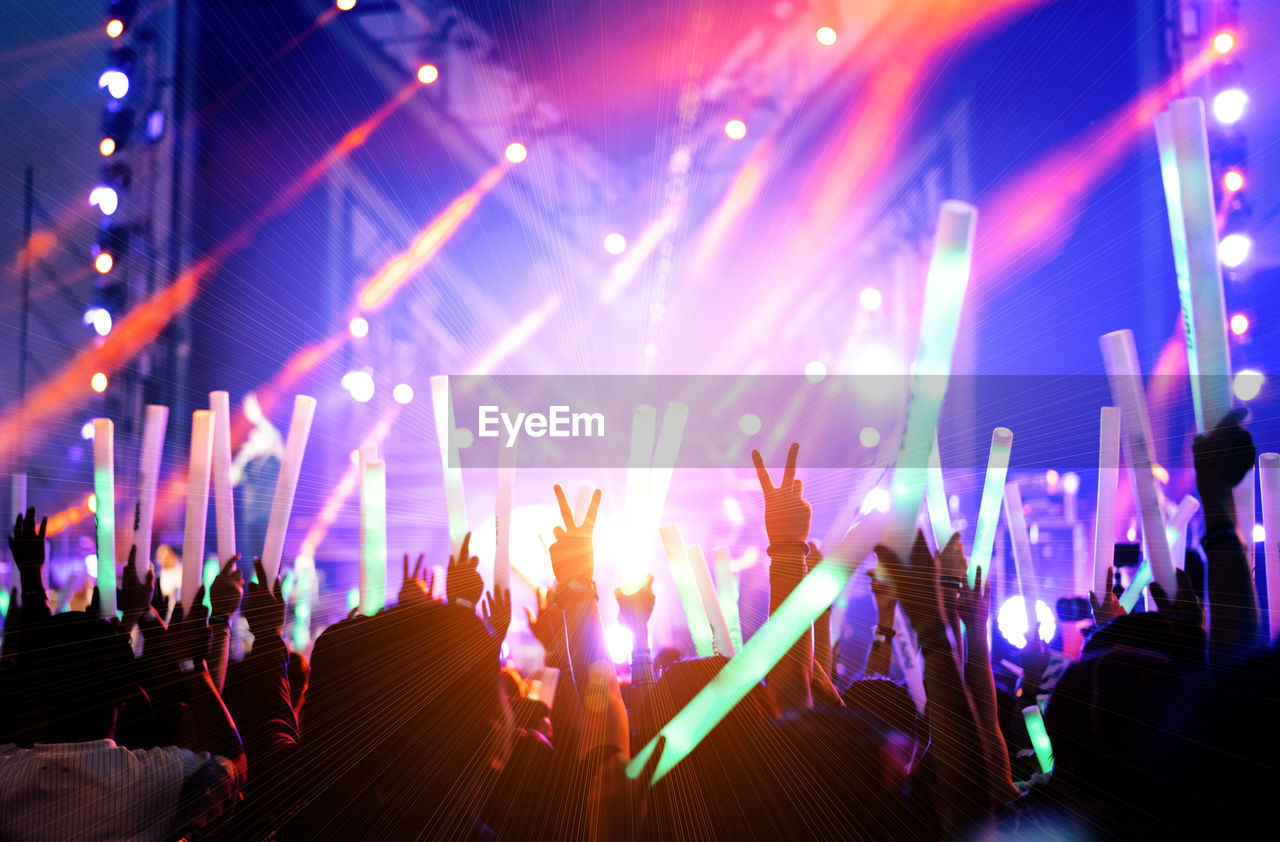 People Gesturing Peace Sign While Enjoying At Music Concert