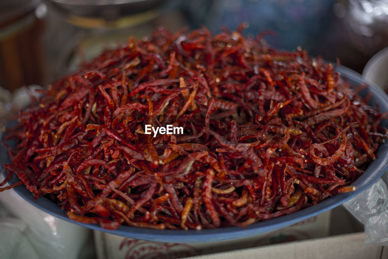 Close-Up Of Dried Chili In A Bowl