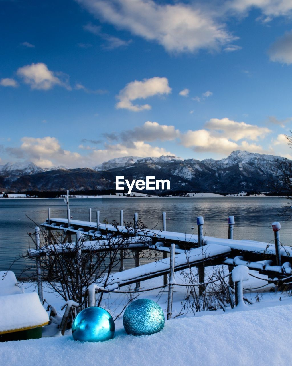 snow, winter, cold temperature, mountain, sky, cloud - sky, scenics - nature, nature, beauty in nature, no people, day, blue, water, tranquil scene, land, railing, non-urban scene, tranquility, holiday, outdoors, snowcapped mountain