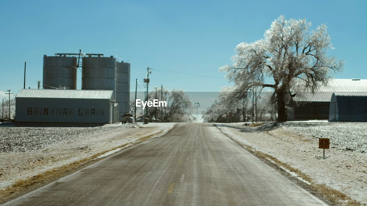 road, transportation, day, cold temperature, no people, outdoors, winter, tree, clear sky, sky, nature, snow