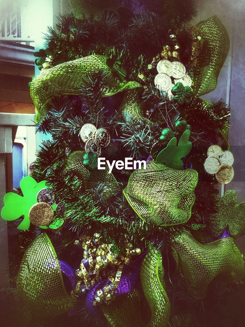 celebration, holiday, christmas, christmas decoration, decoration, christmas tree, no people, green color, plant, tree, indoors, close-up, christmas ornament, nature, growth, holiday - event, representation, illuminated, celebration event