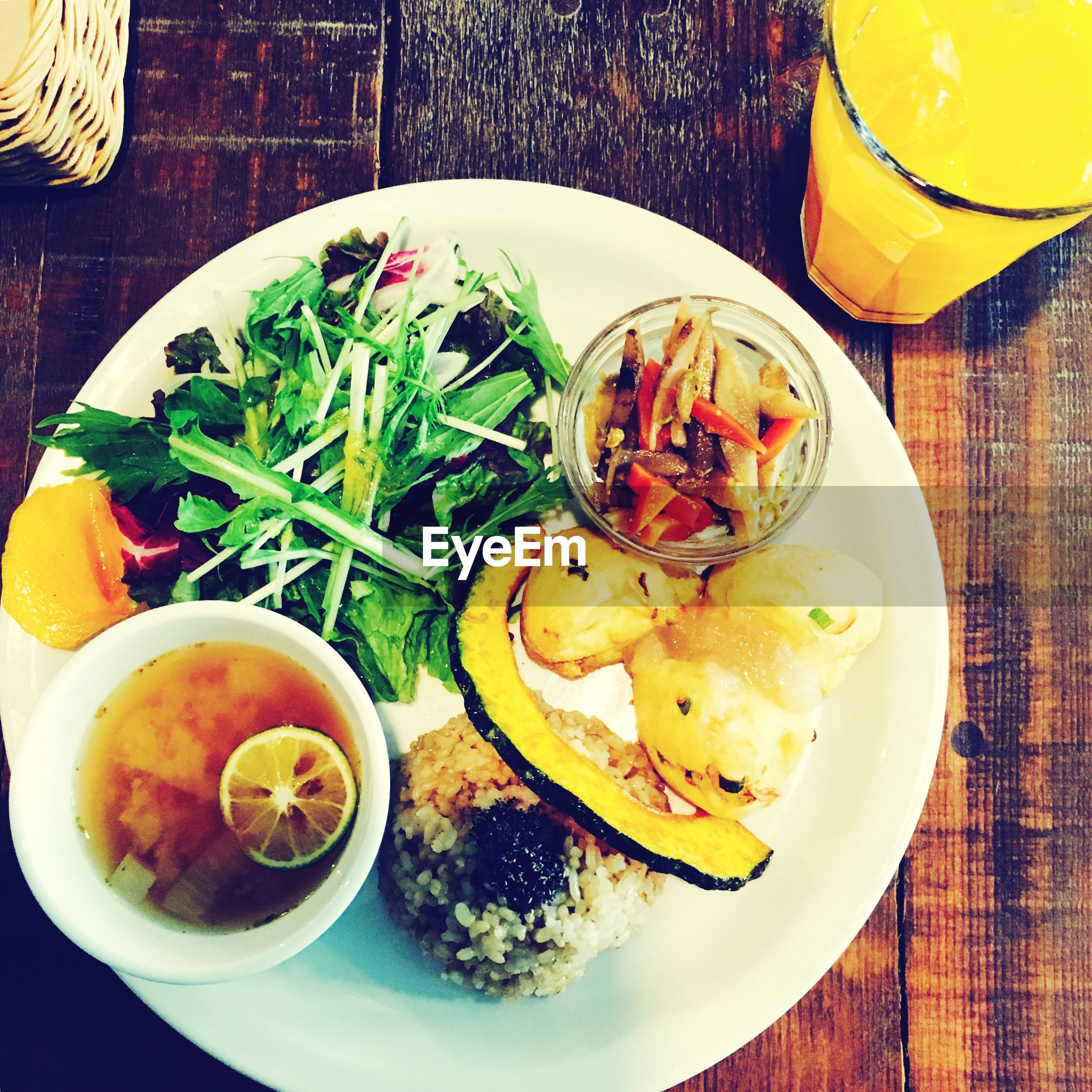 food and drink, food, freshness, table, indoors, plate, ready-to-eat, healthy eating, still life, drink, serving size, bowl, high angle view, drinking glass, fork, refreshment, served, meal, close-up, spoon