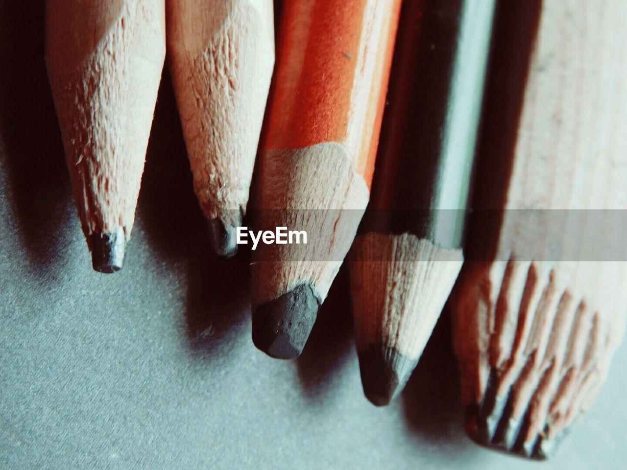 High Angle View Of Pencils On Table