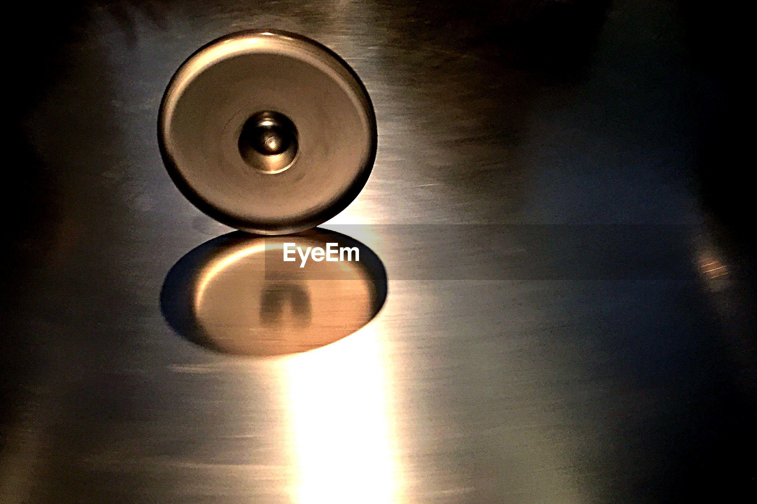 Close-up of metal disk