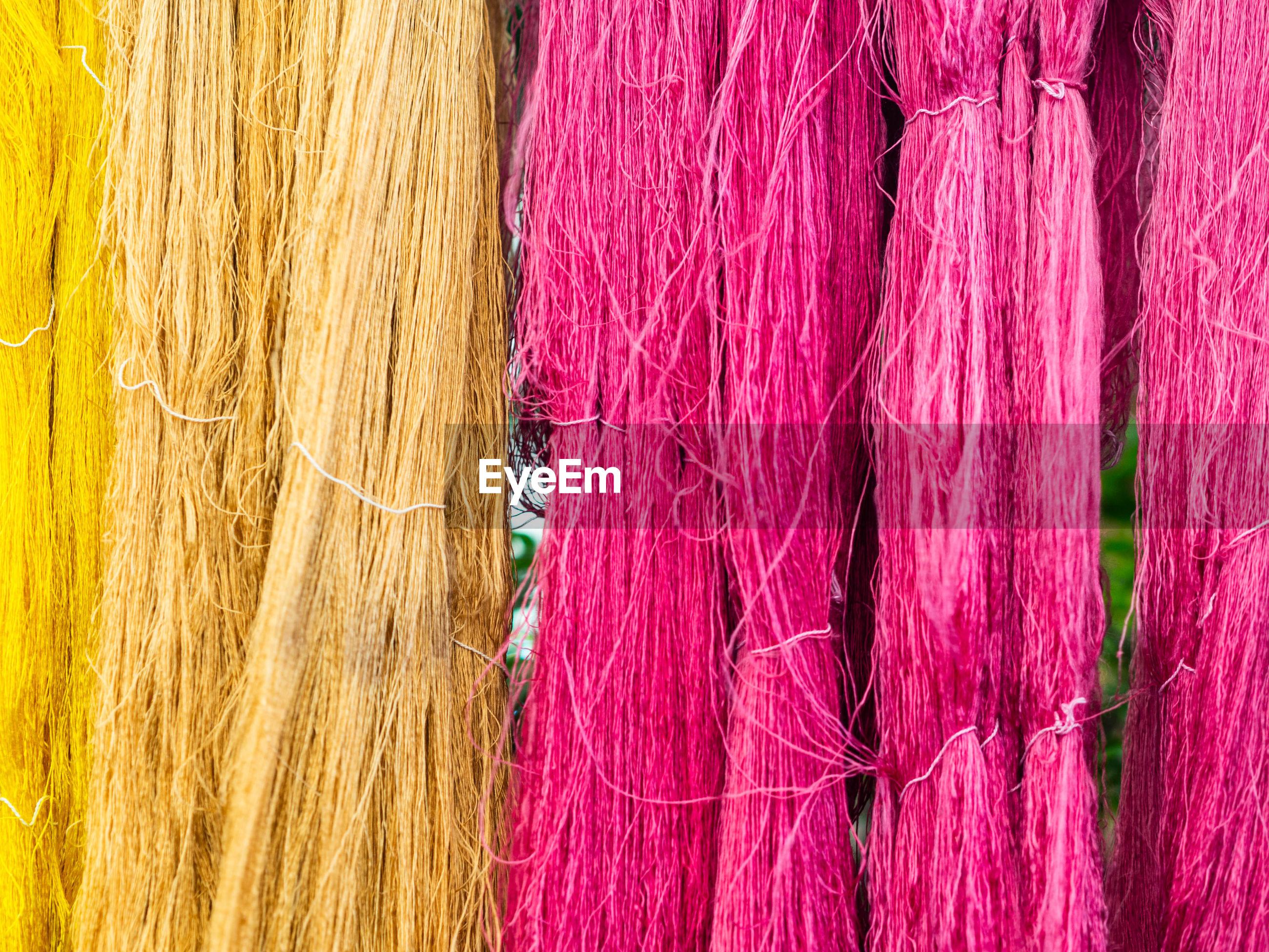 Full frame shot of multi colored strings