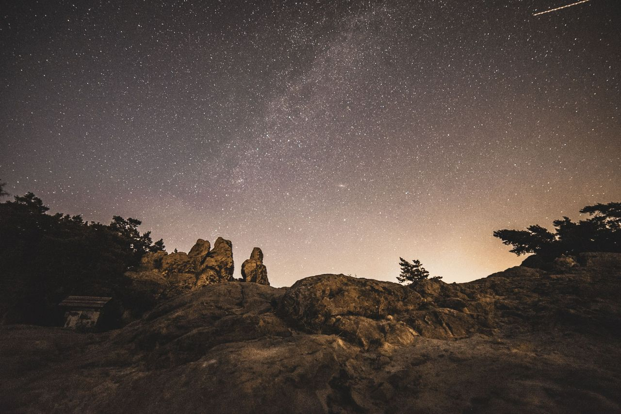 star - space, sky, night, astronomy, scenics - nature, space, beauty in nature, star, galaxy, plant, nature, tree, star field, tranquility, tranquil scene, low angle view, rock, rock - object, idyllic, no people, outdoors, milky way
