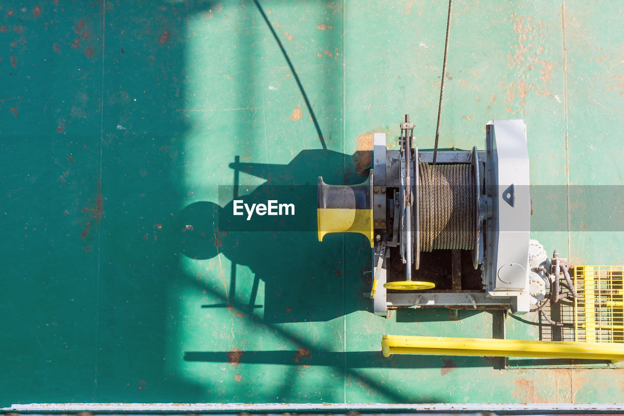 High Angle View Of Equipment In Boat
