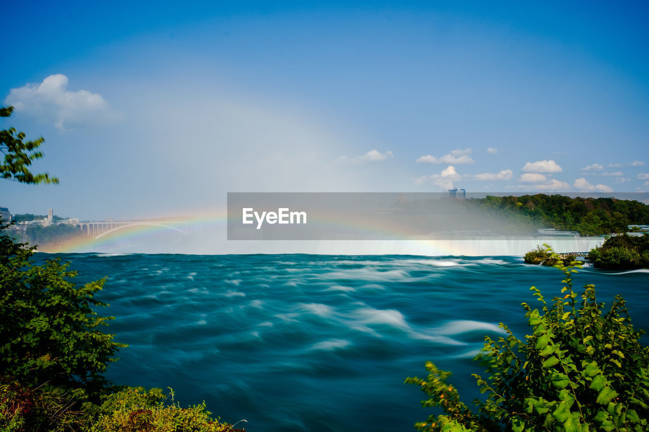 Scenic View Of Rainbow Over Sea Against Sky