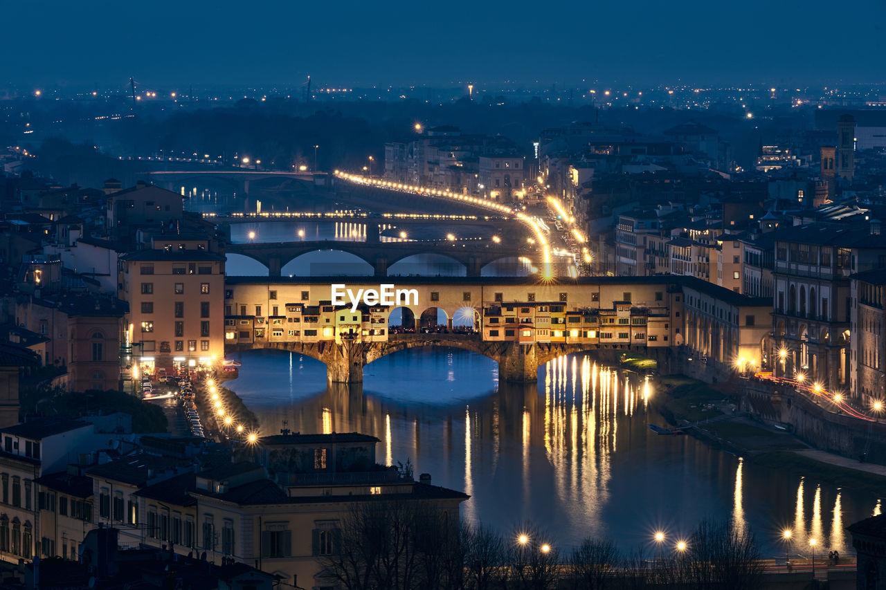 High Angle View Of Illuminated Ponte Vecchio Over Arno River