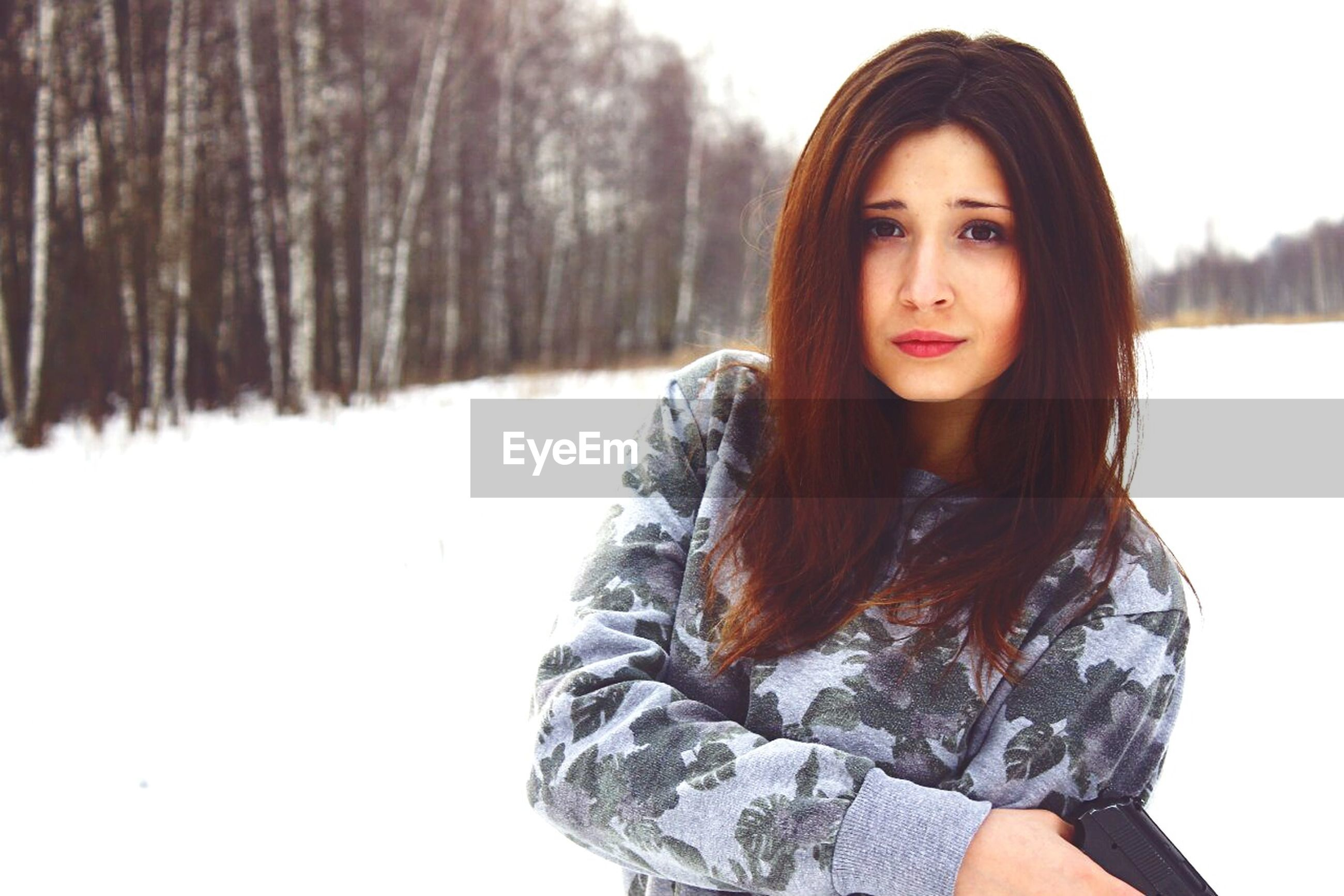 young adult, portrait, person, looking at camera, young women, lifestyles, front view, long hair, leisure activity, casual clothing, winter, smiling, cold temperature, standing, warm clothing, snow, tree
