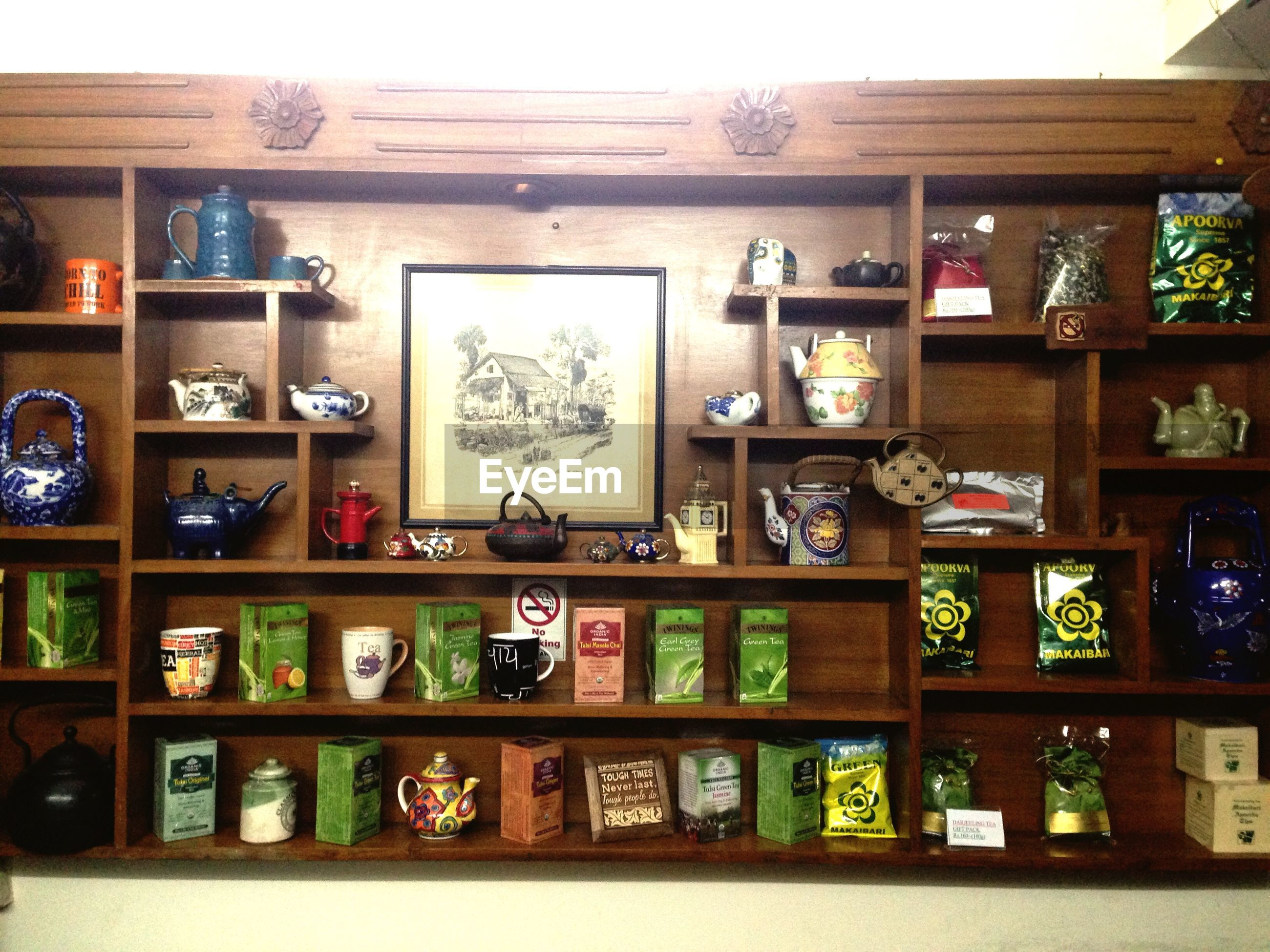 Teas on shelf in tea shop