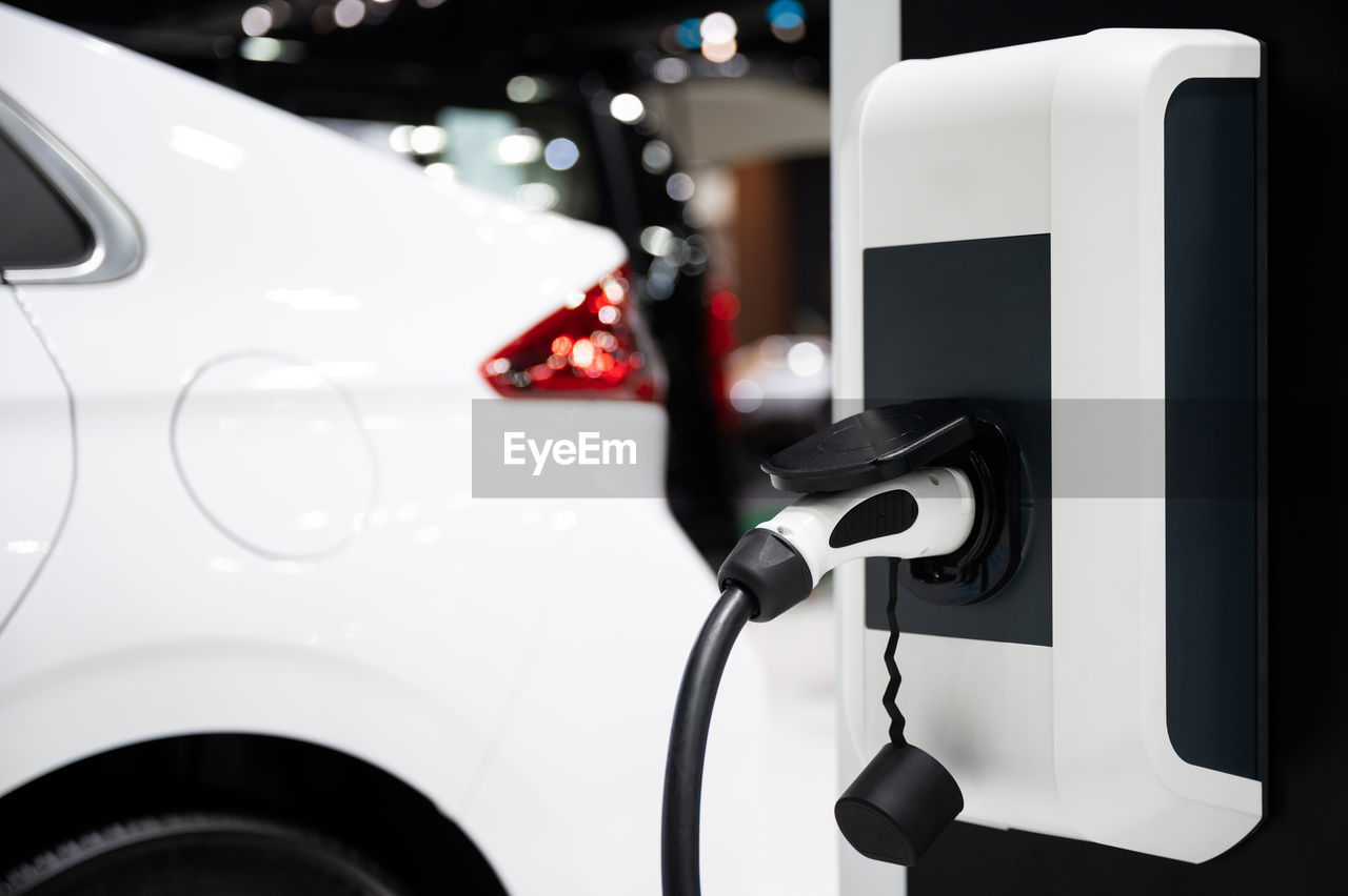 Close-up of electric vehicle charge station