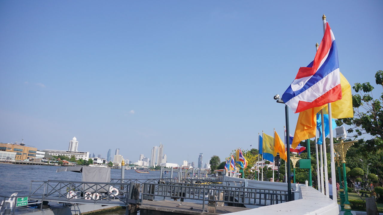 flag, sky, patriotism, architecture, nature, built structure, day, building exterior, no people, water, waving, pride, clear sky, copy space, emotion, outdoors, city, wind, independence, national icon