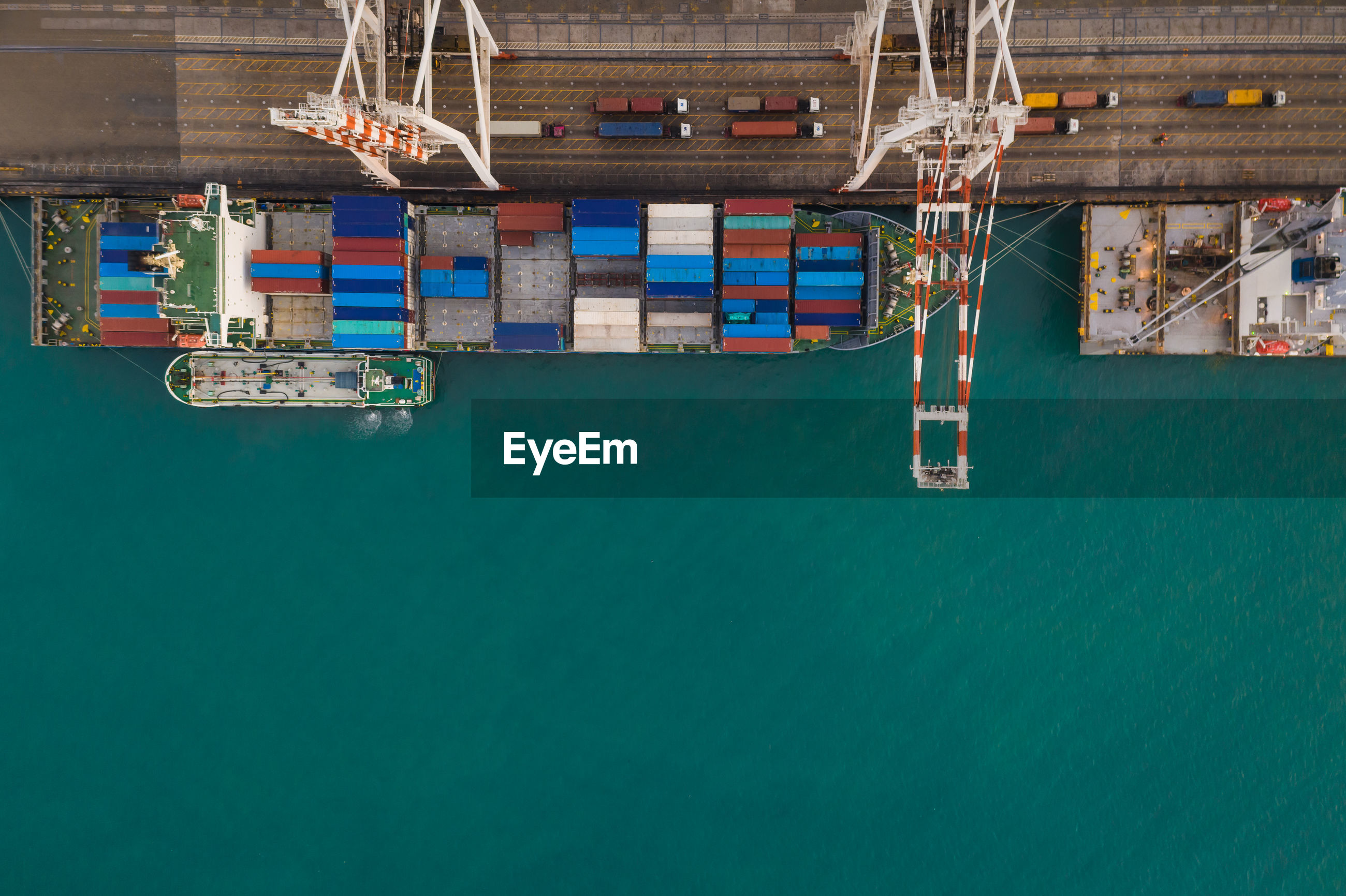 High angle view of container ship at harbor