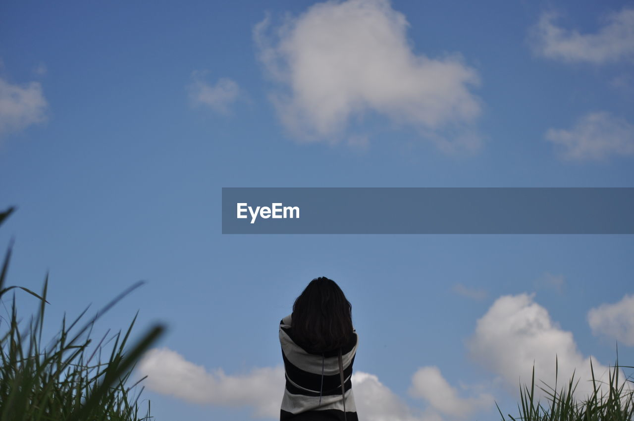sky, cloud - sky, real people, day, outdoors, low angle view, rear view, one person, nature, women, beauty in nature, people