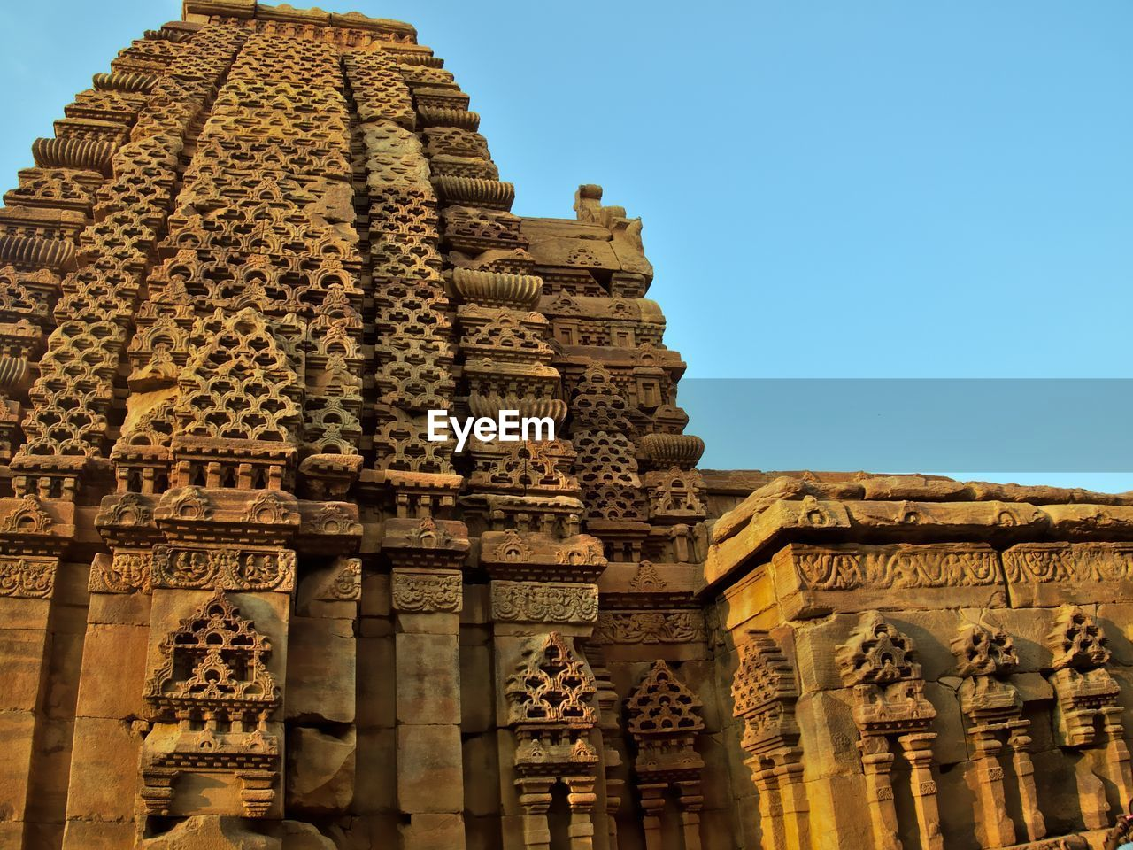 Low Angle View Of Temple Against Clear Sky At Pattadakal