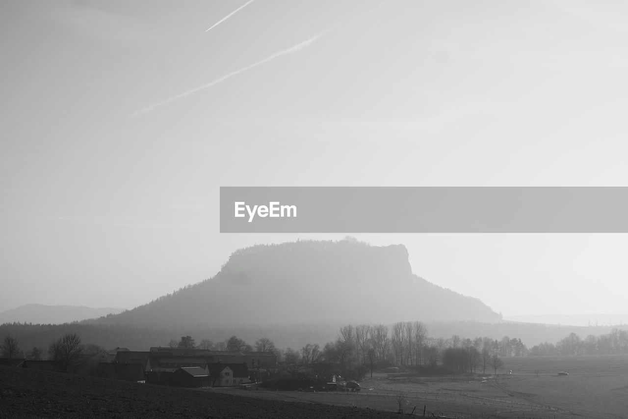 landscape, tranquility, no people, nature, fog, field, mountain, scenics, beauty in nature, agriculture, outdoors, day, sky, tree