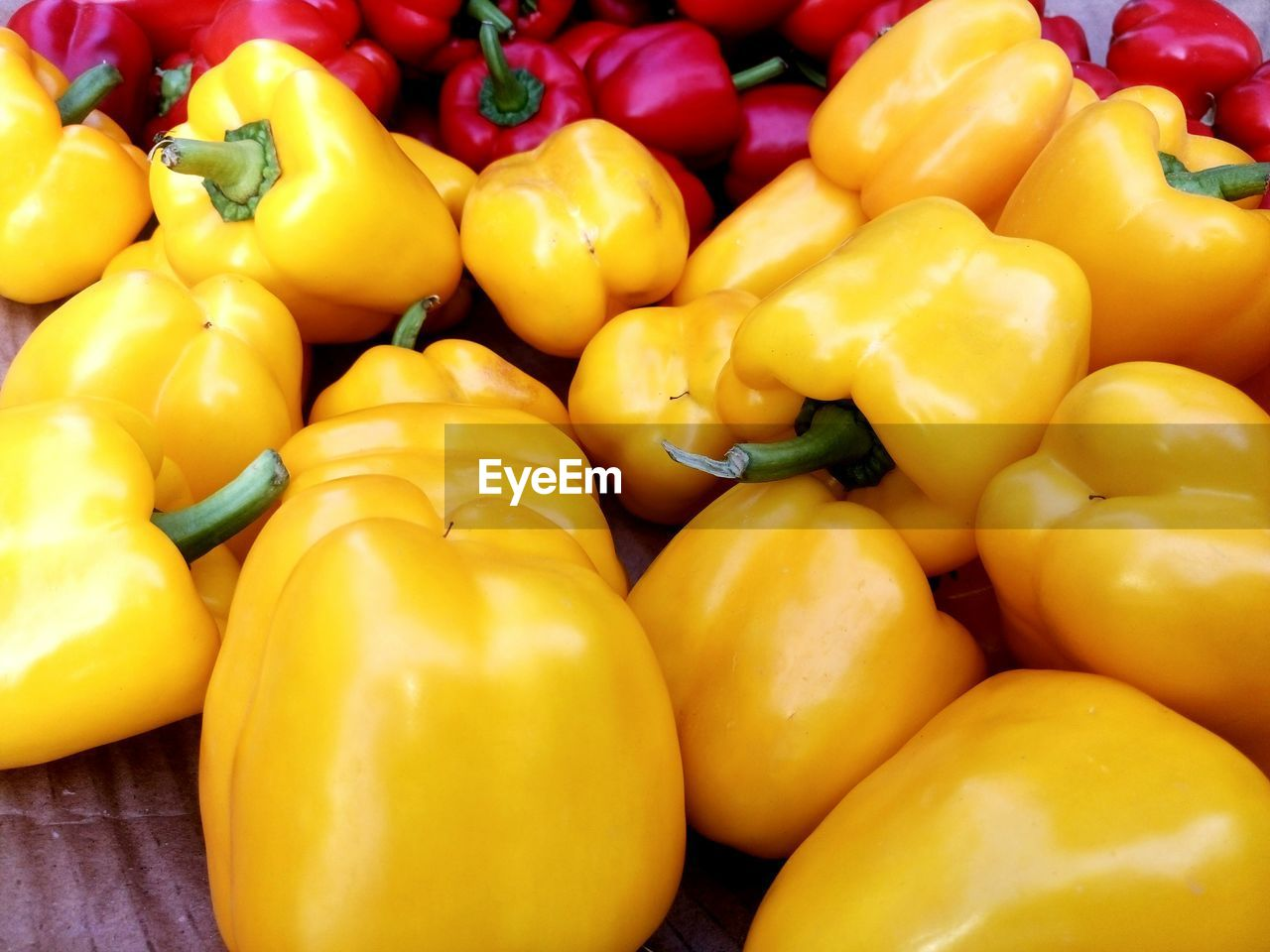 Close-Up Of Bell Peppers At Market For Sale