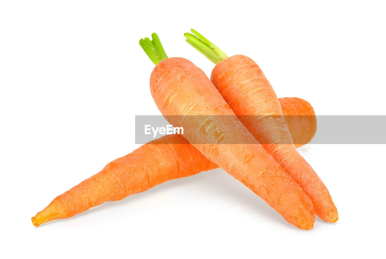 white background, studio shot, food and drink, carrot, still life, vegetable, food, root vegetable, freshness, indoors, cut out, close-up, wellbeing, healthy eating, no people, orange color, high angle view, group of objects, copy space, ready-to-eat, snack, dieting
