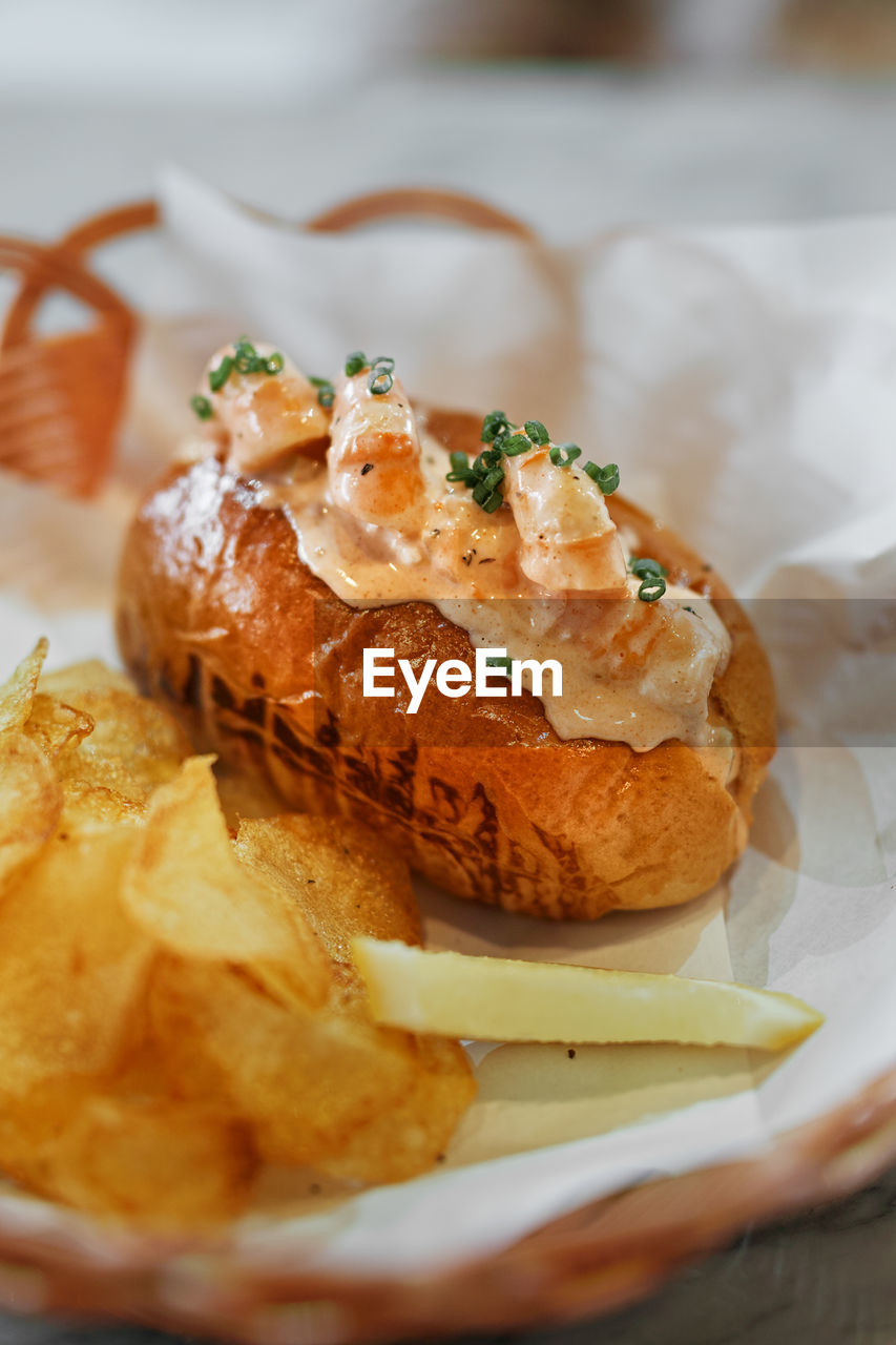 food, food and drink, ready-to-eat, plate, freshness, close-up, still life, serving size, indoors, no people, selective focus, table, bread, indulgence, unhealthy eating, fried, meal, temptation, stuffed, garnish, snack, french food