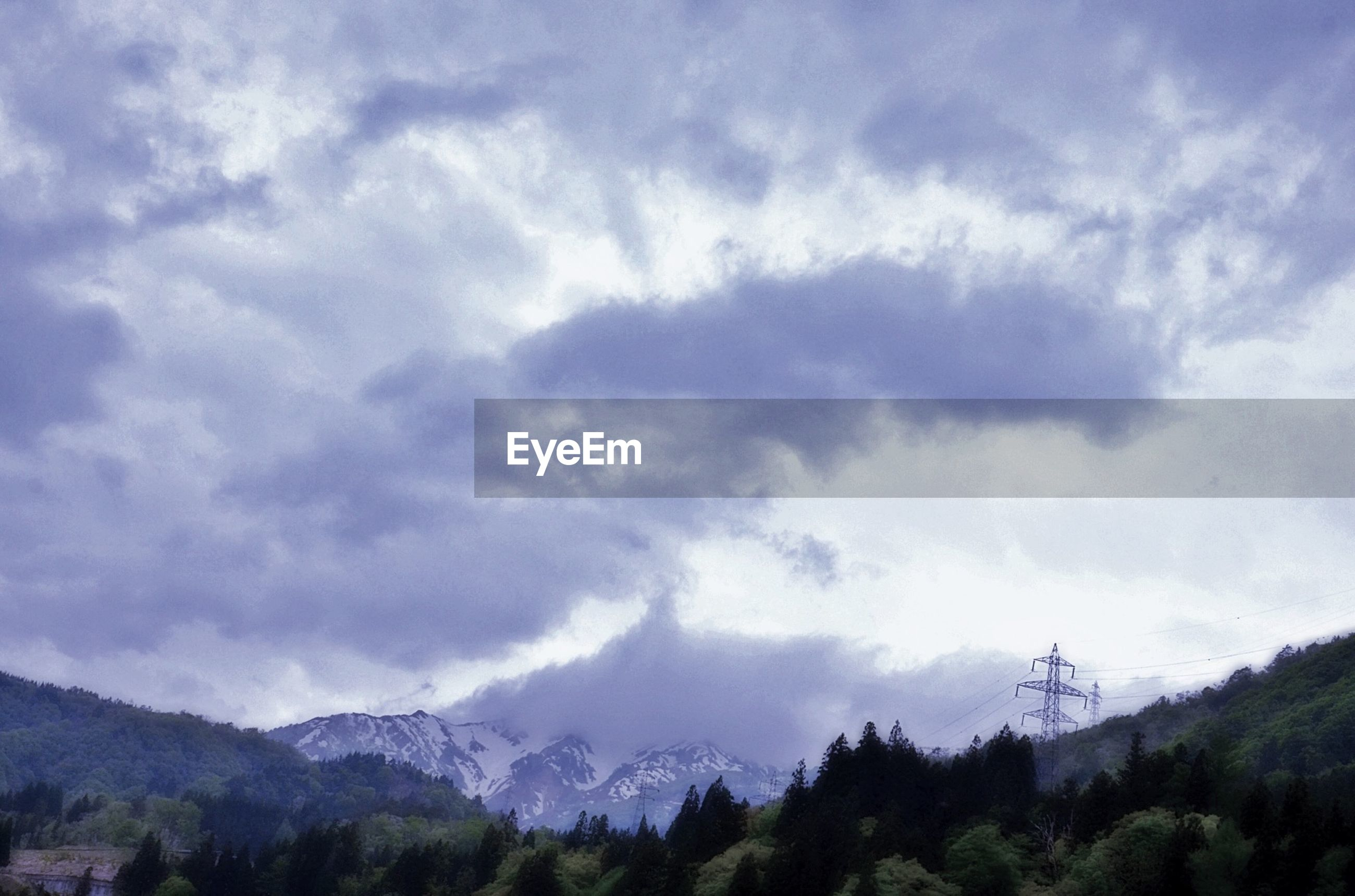 View of forest and mountain against cloudy sky